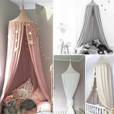 Kids Baby Bed Canopy Bedcover Mosquito Net Curtain Bedding Dome Tent Cotton AU