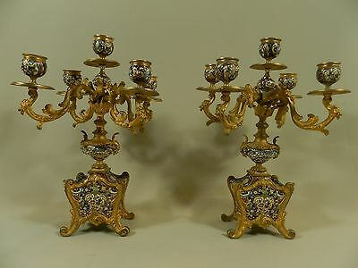 Antique pair of French gilt bronze 5-lights Cloisonné enamel candlesticks 19th c