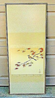 ANTIQUE 19c JAPANESE WATERCOLOR ON SILK PAINTING OF SPARROW PERCHED ON BUSHES
