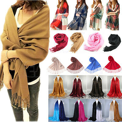 Retro Womens Soft Pashmina Scarf Winter Cashmere Wool Shawl Stole Wraps Scarves