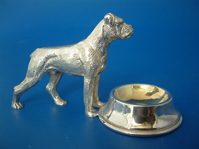 """Silver Plated Table Salt - Boxer Dog at his Feeding Bowl - 4.5""""/11.5cm long"""