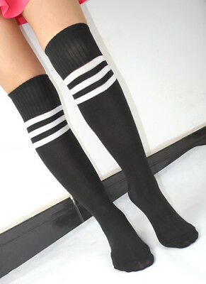 Womens Stripe Over Knee High Socks Soccer Baseball Basketball Sport Socks
