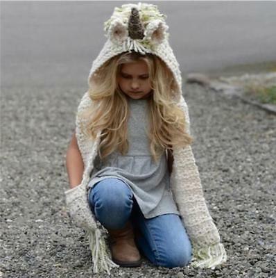 Kids Boys Girls Winter Unicorn Warm Hat Hooded Scarf Earflap Knitted Cap Gifts