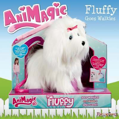 AniMagic Fluffy Goes Walkies 3.0 White Puppy Dog - Sound & Movement - Pink Bow