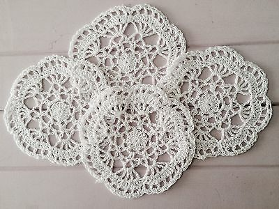 4 X Bulk New 14 Cm White Crochet Lace Doilies