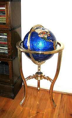 "GEMSTONE FLOOR STAND GLOBE with Compass 34.5"" Tall 13"" Sphere"