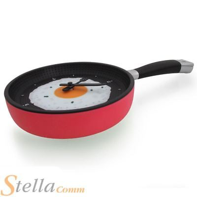 Frying Pan Wall Clock Novelty Kitchen Fried Egg Clock Gift