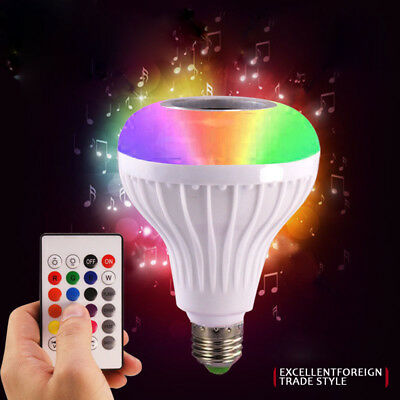 LED Wireless Bluetooth Bulb Light Speaker 12W RGB Smart Music Play Lamp+Remote K