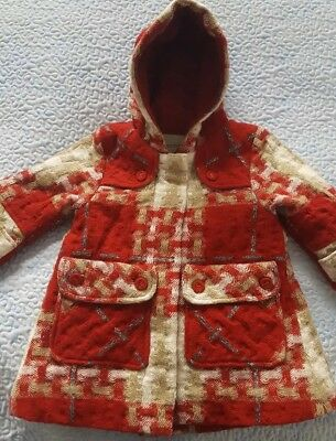 Burberry designer baby girls wool mix red gold coat 9mth