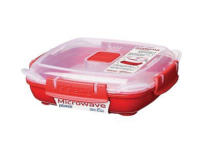 Sistema Microwave Plate with Removable Steaming Tray, Red/Clear