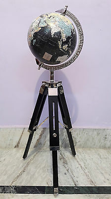 World Globe With Wooden Tripod Stand Antique Vintage Nautical Home Decorative