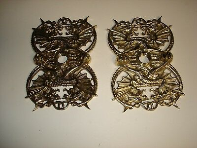 Unusual Large Door Plates Faces (2) Dragon  By Schlage # 780 Brass(?) & Hardware