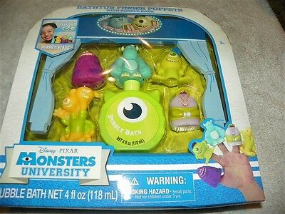 NEW Disney Monsters Inc University Bathtub Finger Puppets Bubble Bath Sully Mike