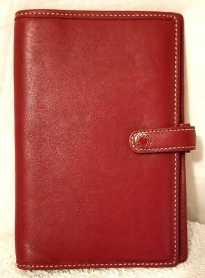 COACH Rich Red Leather Passport Holder Travel Document Organizer Folio Wallet