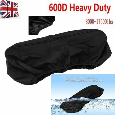 HOT Black 600D Waterproof Soft Winch Dust Cover 8,000-17,500 lbs Trailer ATV SUV