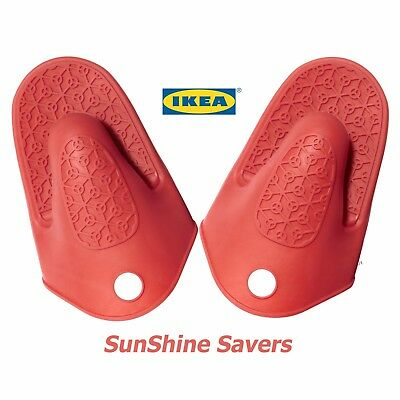 2x IKEA STINN Oven Glove Red Silicone rubber Firm Grip Heat Insulation resistant