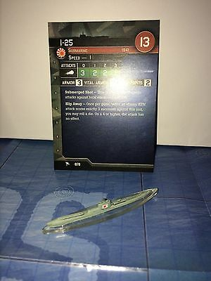 Axis and Allies War at Sea I-25 8/8 with card
