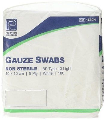 Premier Cotton Gauze Swabs, Non-Sterile,White, 8 Ply, 10 x 10 cm - Pack of 100