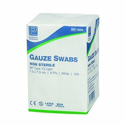 Premier Cotton Gauze Swabs, Non-Sterile,White, 8 Ply, 7.5 x 7.5 cm - Pack of 100