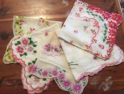Vintage Women's Handkerchiefs , 5 Pieces