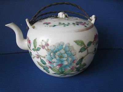 Antique Old Chinese Handpainted Porcelain Teapot With Mark