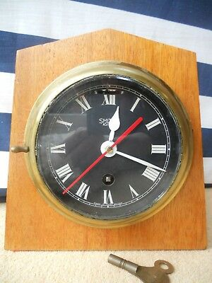 Smiths Astral Clock. Ships Clock.. 8 Day. Key. Black Dial Face. Wood Mounted.