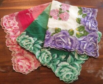 Vintage Women's Handkerchiefs , 3 Pieces