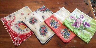 Vintage Women's Handkerchiefs , 4 Pieces