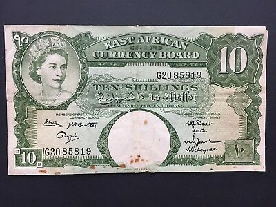 East African Currency Board 10 Shillings P42b issued 1961 - 1963 Fine