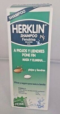 HERKLIN SHAMPOO 120 ml FOR LICE/ EGGS MATA PIOJOS Y LIENDRES FREE COMB/PEINE