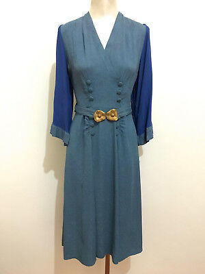 CULT VINTAGE '40 WWII Abito Vestito Donna Rayon Gabardine Woman Dress Sz.M - 44