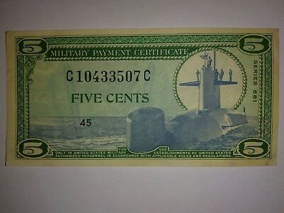 5 Cent Series 681 REPLACEMENT Military Payment Certificate Fine