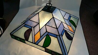 Stained Glass Hanging Lamp- Mid Century