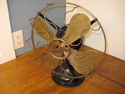 WESTINGHOUSE Style 149575 3 Speed Brass Blades Antique electric fan