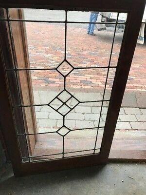 SG 1663 Antique Beveled Center leaded glass bookcase door or window 22 x 35.75
