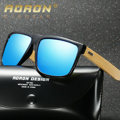 New Men Sunglasses Retro Wood Bamboo Legs Polarized Mirrored Wooden Glasses Hot