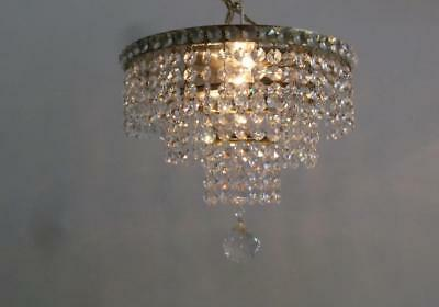 Antique Germany Brass Wedding Cake Tier Crystal X Petite Ceiling Chandelier Lamp