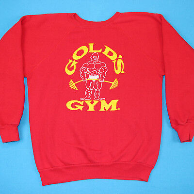 Vintage 80s GOLDS GYM Red Retro Logo Bodybuilding Athletic Shirt Sweatshirt L