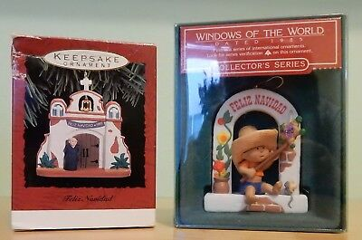 Hallmark Ornaments Windows of the World Mexico 1985, Feliz Navidad 1993 Mission