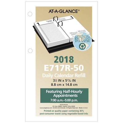 "AT-A-GLANCE Daily Desk Calendar Refill January 2018 - December 2018, 3-1/2"" x 6"""