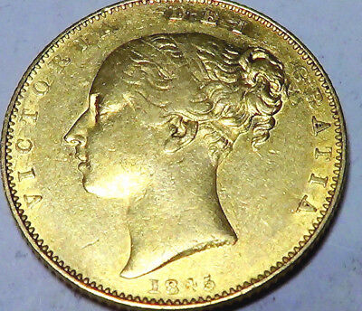 Extremely Rare 1845 Shield Sovereign British Gold Coin From Victoria No Resreve