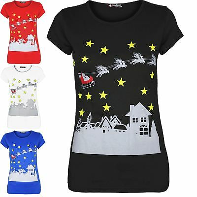 Ladies Xmas Top Womens Cap Sleeve Christmas Stars Reindeers Mini T Shirt UK 8-14