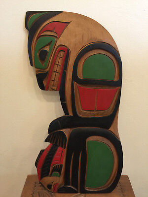 Wonderful Vintage Canadian Indian Tribe Kwakiutl Signed and Carved Plaque