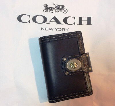 Coach 5x3 Black Leather Turnlock Wallet Planner Organizer NEW with defects 60166