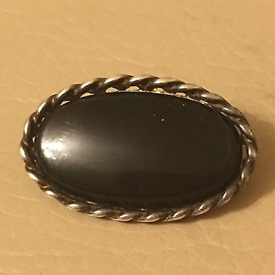 Vintage Retro Art Deco 1920s 1930s 925 Silver Jet Oval Brooch Mourning Pin
