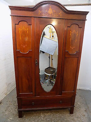mahogany,wardrobe,drawer,bedroom,mirrored door,hanging,antique,edwardian,inlaid
