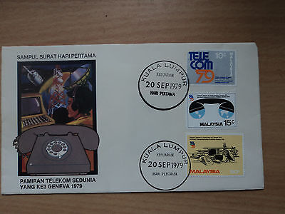 Malaysia 1979 20 Sep FDC World Telecommunications Exhibition, Geneva.Damaged 10c