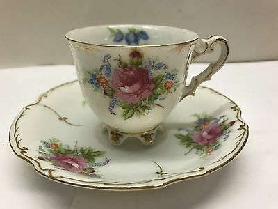 Vintage PAULUX porcelain CHINA Cup saucer Made in Occupied Japan FOOTED GOLD