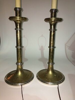 Pair of Mid Century Chapman Tall Brass Chrome Lamps Hollywood Regency Eames Era