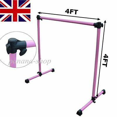Single Ballet Barre Bar Adjustable Pink Dance 4FT Stretch Dancer Train Exercise